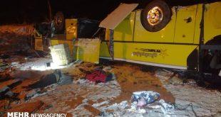 در پی واژگونی اتوبوس مسافربری اصفهان - رامسر در بزرگراه سلفچگان-ساوه متاسفانه ۳ نفر از هم وطنان کشته و ۱۳ نفر مصدوم شدند.