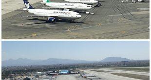 عکس های منتشر شده از فرودگاه مهراباد تهران و هواپیماهای پارک شده نشان از کنسل شدن بسیاری از پروازها در طی هفته های جاری دارد