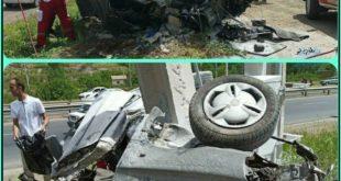 بر اثر برخورد سواری پراید به تیر چراغ برق در جاده مرند - صوفیان در آذربایجان شرقی این پراید به شدت آسیب دید و از وسط به حالت لوله شده در آمد و زوج جوان سرنشین این خودرو بر اثر این حادثه جان خود را از دست دادند