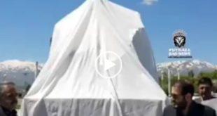 امروز از مجسمه یادبود سیامند رحمان در شهر اشنویه رونمایی شد