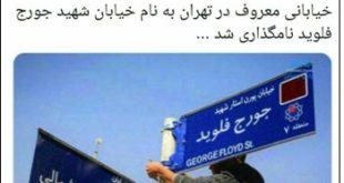 انتشار عکس تغییر نام یکی از خیابان های تهران به نام جرج فلوید سیاهپوست کشته شده در آمریکا واکنش های متفاوتی را در پی داشت