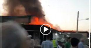 متاسفانه بی احتیاطی در بازار گل تهران باعث بروز یک حادثه تلخ و خسارت های بیشمار به برخی از غرفه های این بازار گردید
