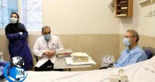 امروز تصویری از حضور دکتر ولایتی رئیس بیمارستان مسیح دانشوری برای عیادت و بررسی وضعیت جسمانی دکتر علی لاریجانی رئیس سابق مجلس که در این بیمارستان بر اثر ابتلا به بیماری کرونا بستری میباشد منتشر گردید