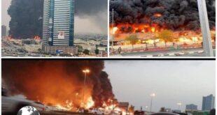 این آتش سوزی در بازار بزرگ شهر عجمان رخ داد و بلافاصله تعداد زیادی از ماشین های آتش نشانی برای مهار آتش سوزی به محل حادثه اعزام شدند