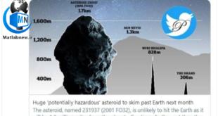 بر اساس یک خبر منتشر شده از طرف ناسا به احتمال قوی یک سیارک عظیم و خطرناک در ماه مارس از نزدیکی زمین عبور خواهد کرد که میتواند برای ساکنان سرزمین خطرآفرین باشد