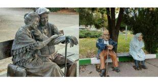 عکس جالب از تندیس یک زوج سالخورده در تهران و لندن مورد توجه عکاسان قرار گرفت و تقابل این دو عکس در کنار همدیگر به سوژه های خبری تبدیل شد