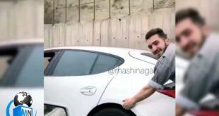 فیلمی از حرکت خطرناک یک شهروند تهرانی در یکی از بزرگراه ها در حالیکه گلگیر یک پورشه را برای اسکیت سواری در دست گرفته و در حال حرکت است وایرال شد