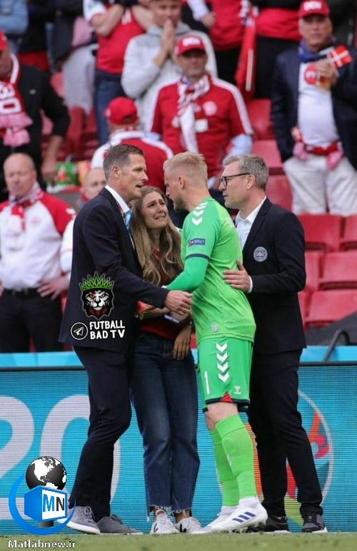فیلم/ لحظه مصدومیت و ایست قلبی (کریستین اریکسن) فوتبالیست دانمارکی/ اشکهای همسر کریستین
