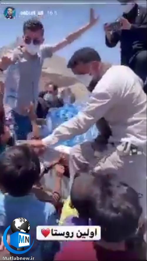 فیلم/ ماجرای جنجالی (علی صبوری) و توزیع آب معدنی در بین بچه های سیستان و بلوچستان بدون رعایت فاصله اجتماعی