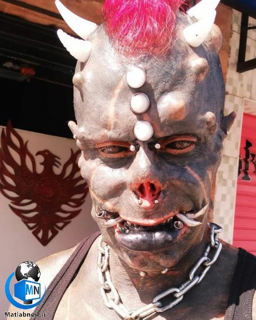 (پسر شیطان) تتو کار برزیلی که تبدیل به هیولای شیطان شد کیست؟+ عکس وحشتناک